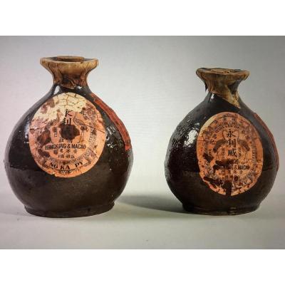 Two Sake Bottles, Glazed Earth, China