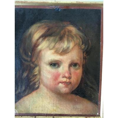 Portrait Of Child, Oil On Canvas, Nineteenth
