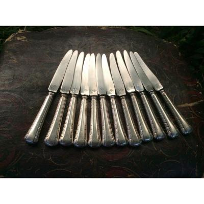 Douze Couteaux Métal Argenté