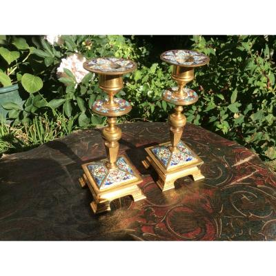 Two Candlesticks In Cloisonné Enamels