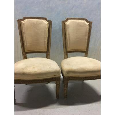 Pair Of Low Chairs Louis XVI Style To Cover