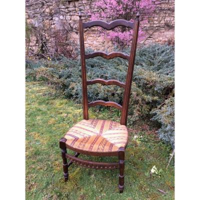 Chaise De Nourrice à L'assise Paillée Multicolore