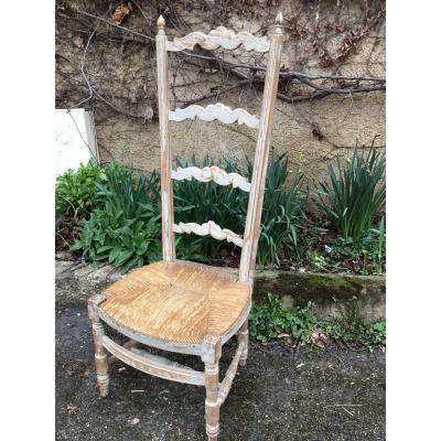 Chaise De Nourrice Laquée  à L'assise Paillée