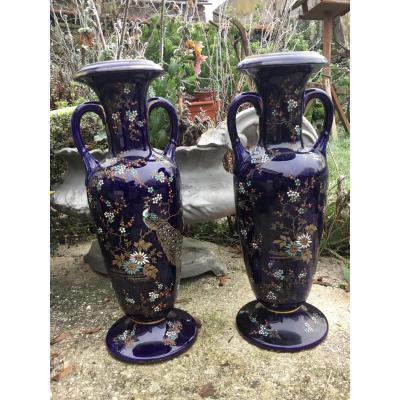 Paire De Vases Faïences De Bruyn  (45 cm) Manufacture De Fives Lille.