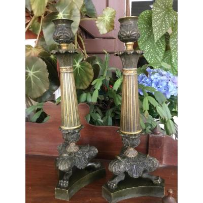 Pair Of Candlesticks In Gilt Bronze Restoration With Two Patinas
