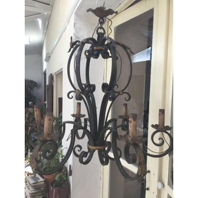 Wrought Iron Chandelier, Early Nineteenth