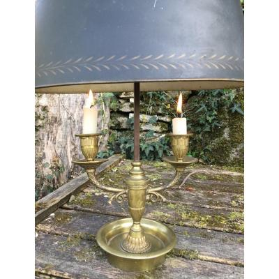 Hot Water Bottle Lamp With Hunting Horn, In Gilt Bronze