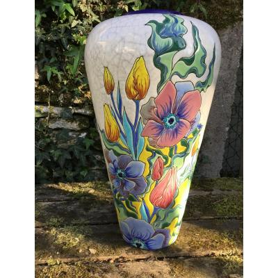 Large Longwy Vase With Art Nouveau Decor (38 Cm)