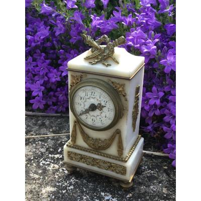 Miniature Clock In Alabaster Louis XVI Style