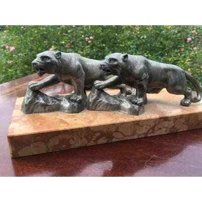 Couple Of Panthers On A Marble Base, Art Deco