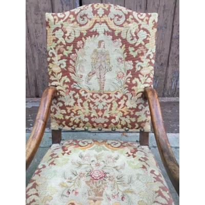 Large Fauteuil D'apparat , Tapisserie Au Point