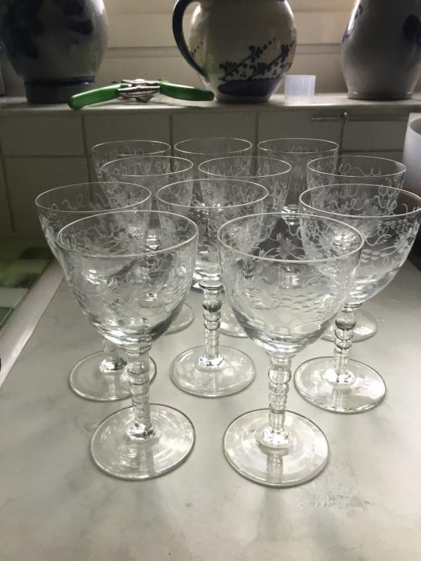 Suite Of 11 Cut And Engraved Crystal Glasses Nineteenth-photo-3