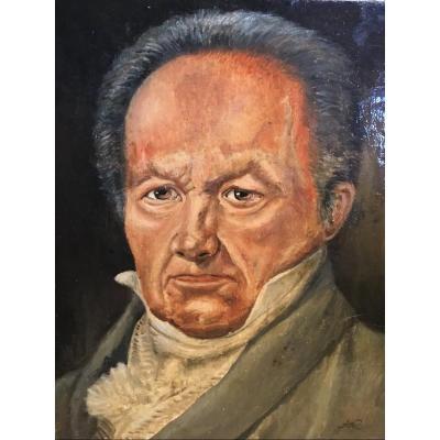 Portrait D'homme, école Espagnole , Fin XIXème