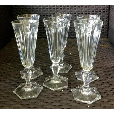 Suite De 6 Flutes à Champagne En Cristal Taillé