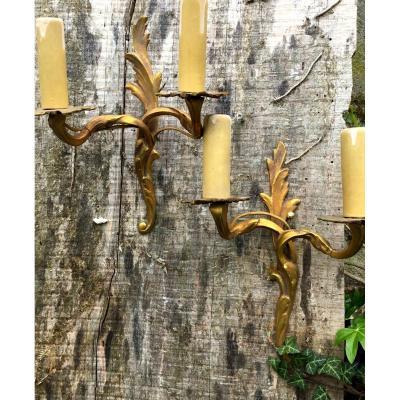 Pair Of Very Small Gilt Bronze Wall Lights