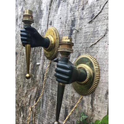 Pair Of Bronze Hands Sconces 1960