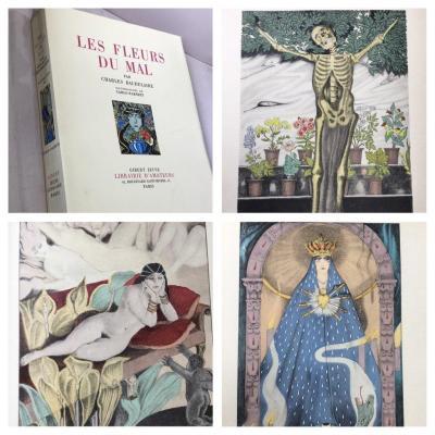 Baudelaire Les Fleurs Du Mal. 16 Pochoirs De Carlo Farneti. 1935