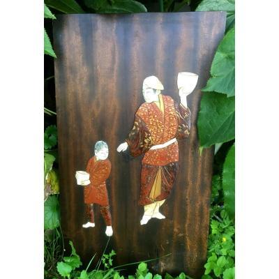 Panneau Japonais, Père Et Fils , XIXème