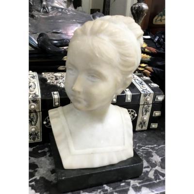 Buste De Fillette Au Chignon , Albâtre, Vers 1900