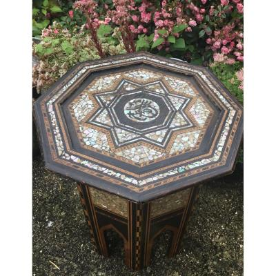 Syrian Hexagonal Guéridon Inlaid With Mother Of Pearl, XIXth
