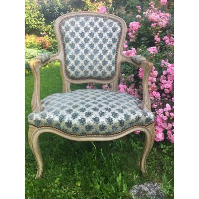 Louis XV Style Painted Wood Cabriolet Armchair
