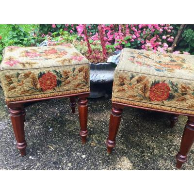 The Two English Stools Covered With Tapestry In Point, XIXth