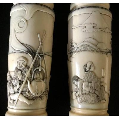 Paire De Petits Vases Japonais En Ivoire , époque Edo