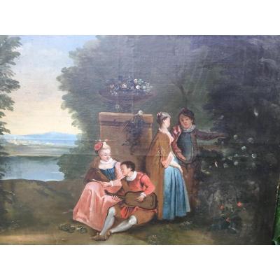 Scène Galante , Toile XVIIIème