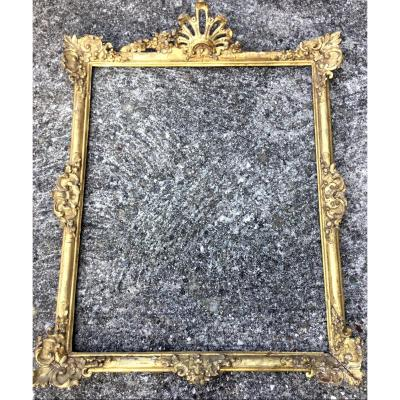 Large 17th Century Frame, Louis XIV, In Carved And Gilded Wood.