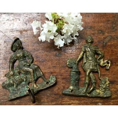 Les Deux Porte Miniatures D'époque Restauration En Bronze