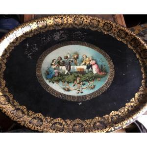 Grand Plateau Jeux D'enfants En Tôle Peinte époque Napoléon  III
