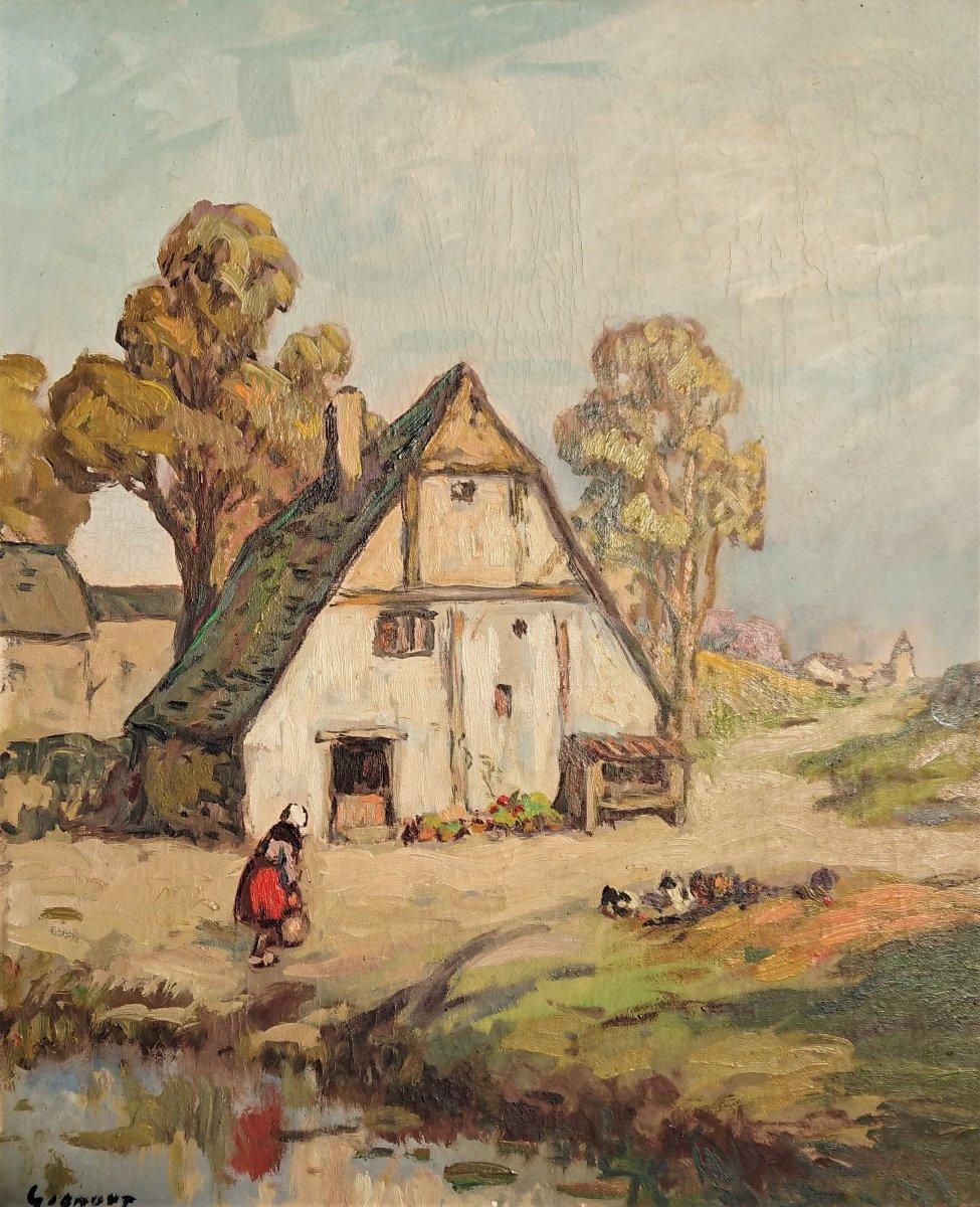 L. Gignoux, La Ferme Normande Bayeux, Huile Sur Toile Signée En Bas à Gauche