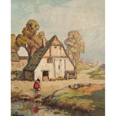L. Gignoux, La Ferme Normande Bayeux, Oil On Canvas Signed Lower Left
