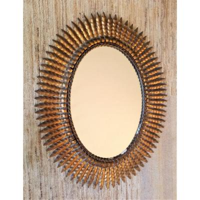 Sun Mirror In Golden Metal, Years 60/70, Good Vintage Condition