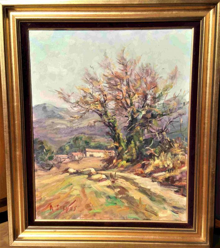 Sieyes. A (twentieth), Almond Blosooms, Oil On Canvas, With Frame-photo-2