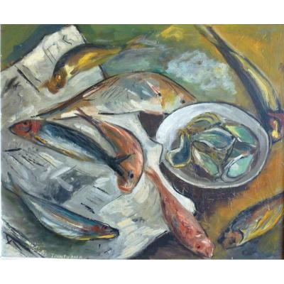 Tainturier (xxème), Still Life With Fish, Signed Panel Oil