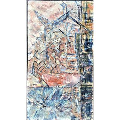 """Jaouen Claude (1953-), """"la Joliett"""" Marseille, Oil On Panel"""