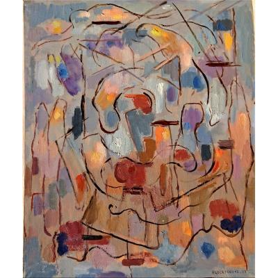 Coste Albert (1896-1985), Composition Bleu 77, Oil On Canvas Signed, Dated 1977 On The Back.
