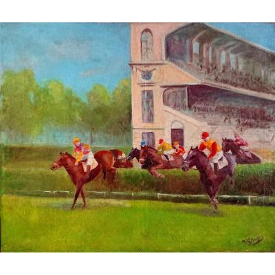 Grojean. M? (xxth), Course à Longchamp, Oil On Canvas Signed Lower Right