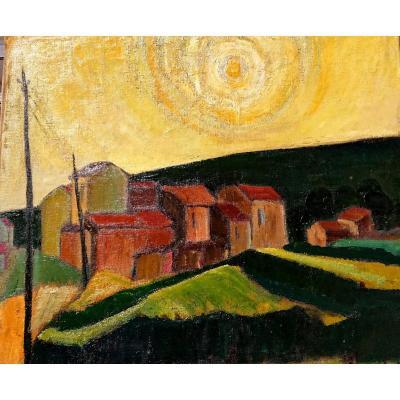 Van Der Gucht (xxème), Village Provençal Au Soleil, Huile Sur Toile Signée, Vers 1960