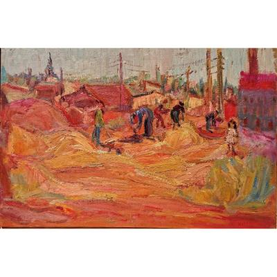 Rosso. R, (1924-1988), Les Tuileries à l'Estaque, Oil On Panel, Signed. Around 1960