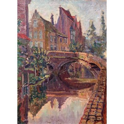P. Froidevaux, (1918-1998), Bruges Le Pont Flamand, Huile Sur Toile Signée, Datée 1936