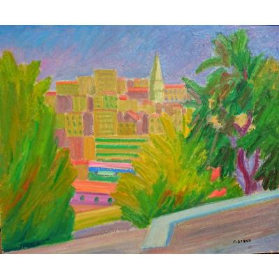 François Diana (1903-1993), Marseille View On Les Accoules, Oil On Carton, Signed