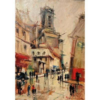B. Lignon (twentieth), Paris, St Eustache And La Rue Du Jour, Hule On Canvas Signed, Framed.