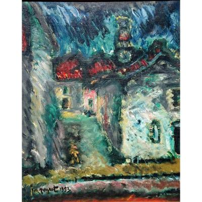 I. Peyret (1880-1962), The Village, Oil On Canvas Signed And Dated 1953, Bottom Right. Frame