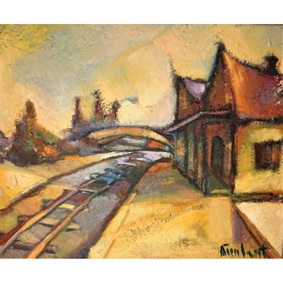 Andrée IMBERT (1930-2012), La petite gare, Huile sur toile signée en bas à droite.