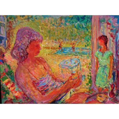 Rosso. R,  (1924-1988), Jardin d'été, Huile Sur Panneau Signée Au Dos, Vers 1960, Cadre Noir