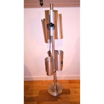 Lampadaire 6 Feux En Aluminium, Années 1970 Vintage.