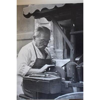 Marcel Coen, Ferrer Le Remouleur, Photographie Sur Papier Collée Sur Bois, Signée, Datée1951