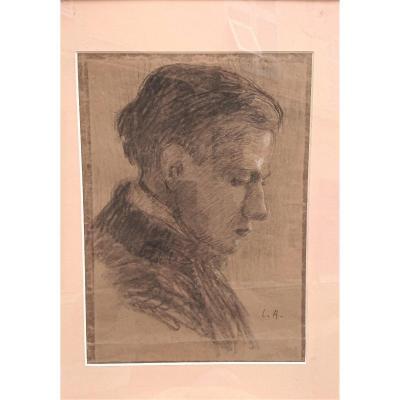 Louis Audibert (1880-1983), Portrait d'Homme, Fusain Sur Papier, Cadre Sous Verre